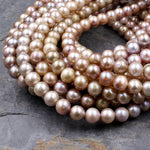 "Genuine Freshwater Pearl 8mm Round Pearl Natural Shimmery Iridescent Pink Peach Gold Mauve Purple Colors 16"" Strand"