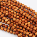 "Real Natural Golden Sandalwood Beads 6mm 8mm 10mm 12mm Aromatic Pure Wood Great For Mala Prayer Miditation Therapy 16"" Strand"