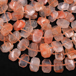 "Natural Red Lepidocrocite Quartz Beads Large Faceted Faceted Rectangle Octagon Nugget Flat Slice Unusual Designer Cut 16"" Strand"