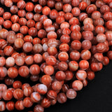 "Extremely Rare! Natural Moroccan Red Banded Agate 7mm 8mm 9mm Round Bead 16"" Strand"