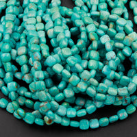 "Genuine 100% Natural Turquoise 6mm Square Cushion Beads Highly Polished Uniformed Blue Green Gemstone 16"" Strand"