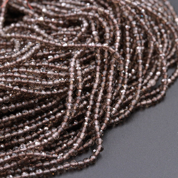 2 mm Micro Faceted Beads Price per strand. 13 Inch Strand Superfine Quality Smoky Quartz Shaded Beads