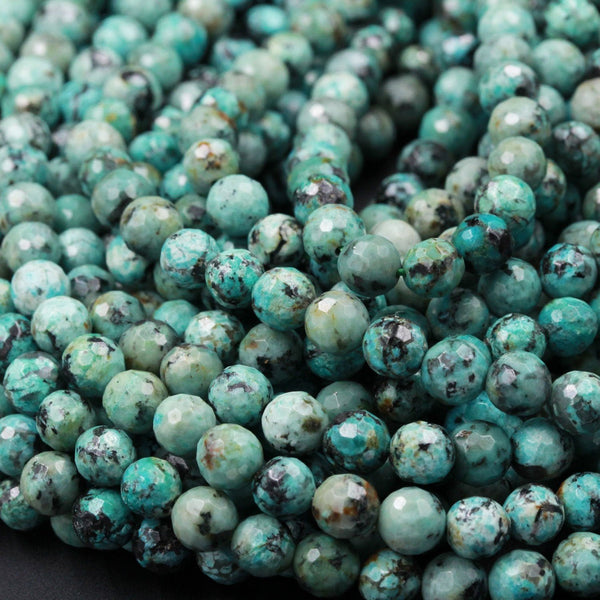"Faceted African Turquoise 6mm 8mm 10mm Round Beads High Quality AAA Grade Natural Turquoise Gemstone Lots of Blues Greens 16"" Strand"