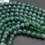 "Rare Teal Green Apatite 4mm 6mm 8mm 10mm Round Beads Natural Green Gemstone Round Beads Unusual Green Stone 16"" Strand"