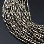 "Micro Faceted Tiny Small Natural Iron Pyrite Faceted 2mm 3mm Round Beads Diamond Cut Gemstone 16"" Strand"
