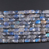"Faceted Labradorite Rectangle Cushion Beads 14mm 16mm Natural Dark Labradorite Brilliant Blue Green Flashes Fire Good For Earring 16"" Strand"