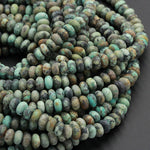 "Matte Natural African Turquoise 6mm 8mm 10mm 12mm Rondelle Beads Matte Finish High Quality Natural Turquoise Lots of Blues Greens 16"" Strand"