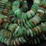 "Natural Australian Green Chrysoprase Beads Faceted Slice Rondelle Chunky Disc Wheel Heishi Nugget Center Drilled Large Gemstone 16"" Strand"