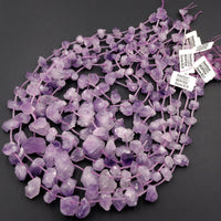"Raw Natural Amethyst Flower Beads Freeform Rough Organic Drop Nugget Light Purple Gemstone 16"" Strand"