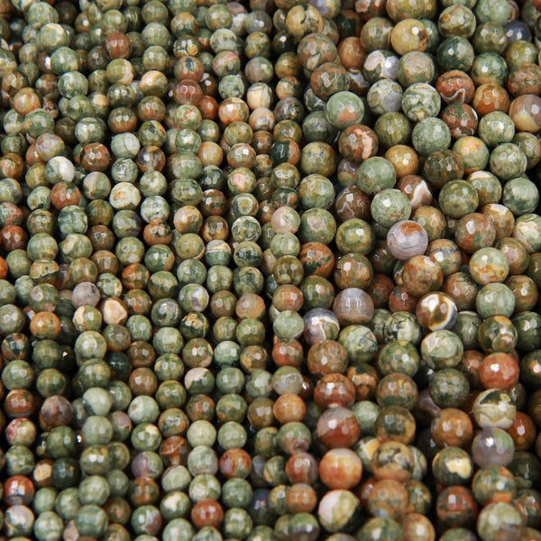"Natural Rainforest Rhyolite Jasper 6mm Faceted Round Beads 8mm Faceted Round Beads 16"" Strand"