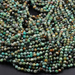 "Micro Faceted African Turquoise 4mm 5mm Round Beads Cut Diamond Cut Dazzling Facets Small Natural Faceted Turquoise Gemstone 16"" Strand"