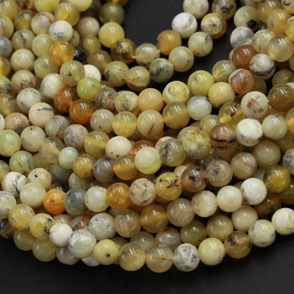 "Natural African Yellow Opal Beads Dendritic Opal 6mm Round Beads Real Genuine Milky Yellow Opal Gemstone Black Dendritic Pattern 16"" Strand"