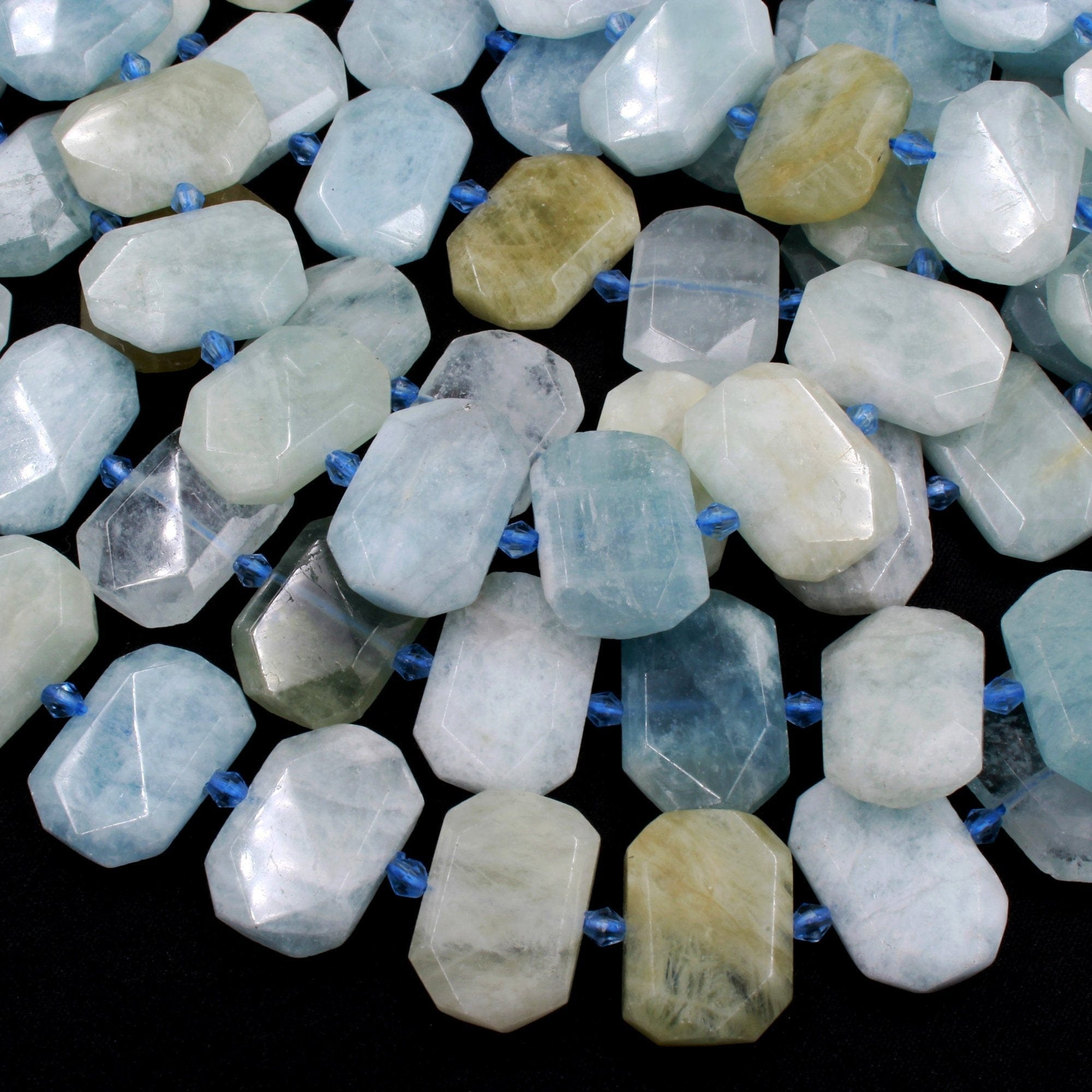 "Natural Blue Green Aquamarine Faceted Rectangle Octagon Cushion Slice Flat Focal Bead Real Genuine Beryl Gemstone Beads 16"" Strand"