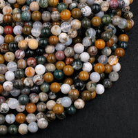 "Natural Ocean Jasper 6mm 8mm 10mm Beads High Quality Polished Round Beads 16"" Strand"