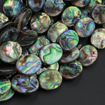 "Abalone 10mm 14mm 18mm Oval Beads Iridescent Rainbow Glow Blue Green Red Pink Flash A Grade Real Genuine Natural Abalone 16"" Strand"