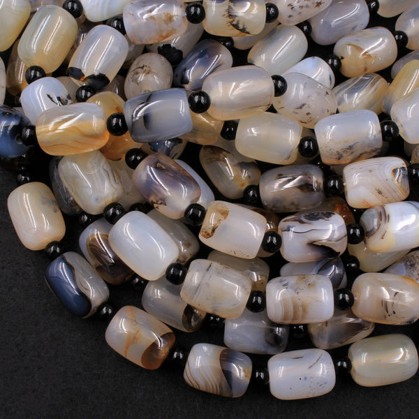 "Natural Montana Agate Rounded Cylinder Barrel Drum Beads Highly Polished Amazing Scenic Pattern High Quality Black White Beads 16"" Strand"