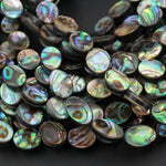 "Real Natural Abalone 10x8mm Flat Oval Beads Iridescent Rainbow Glow Blue Green Red Pink Flash A Grade Genuine Natural Abalone 16"" Strand"