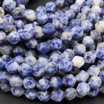 "Star Cut Natural Sodalite Faceted 6mm 8mm 10mm Rounded Nugget Sharp Facets 15"" Strand"