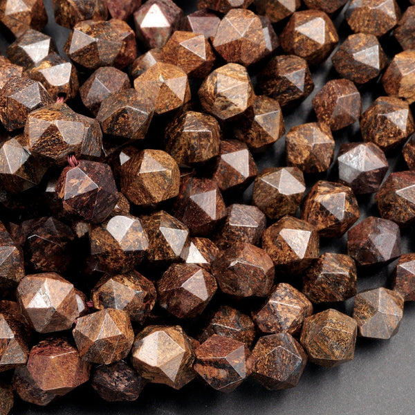 Natural Bronzite Faceted Nugget Star Cut Rounded 8mm Nugget 10mm Round Nugget 12mm Geometric Cut Beads Strand