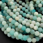 "Matte Natural Blue Amazonite  6mm  8mm 10mm Round Beads Stunning High Quality Organic Frosty Matte Finish 16"" Strand"
