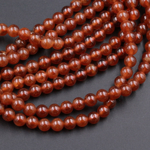 "Natural Orange Brown Hessonite Garnet Round 4mm 5mm 6mm 7mm 8mm Beads High Polish High Quality Natural Garnet Gemstone 16"" Strand"