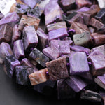 "Natural Russian Charoite Square Beads Creative Organic Cut Large Thick Square Cushion Slice Slab Real Genuine Purple Gemstone 16"" Strand"