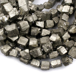 "Large Chunky Rough Raw Natural Pyrite Crystal Freeform Dice Cube Square Beads Nugget Sparkling Pyrite Natural Gemstone Beads 16"" Strand"