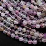 "Natural Fluorite Beads 10mm Round Smooth Polished Soft Pastel Purple Green Clear Fluorite Gemstone Beads 16"" Strand"