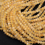 "Natural Golden Rutile Quartz  6mm 8mm Faceted Rondelle Beads High Quality Golden Rutilated Quartz Gemstone 16"" Strand"