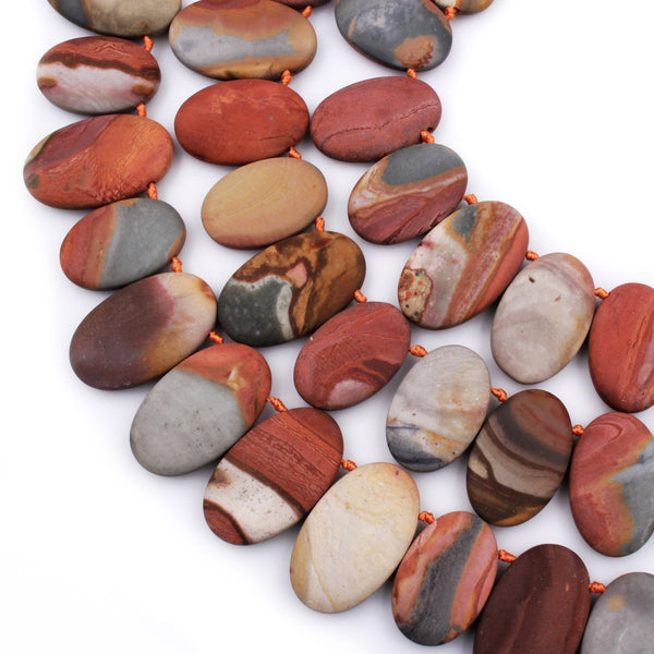 "Matte Finish Natural Landscape Ocean Jasper Oval Beads Aka Polychrome Ocean Jasper Top Side Drilled Pebble Red Orange Slate Brown 16"" Strand"