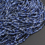 "High Quality Natural Blue Sodalite Round 2mm 3mm 2.5mm Faceted Round Beads Micro Cut Faceted Tiny Small Genuine Gemstone 16"" Strand"