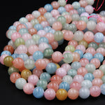 "Natural Beryl 10mm Round 12mm Round Beads Blue Aquamarine Green Aquamarine Pink Morganite Peach Morganite Round Beads 16"" Strand"