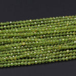 "Micro Faceted Natural Green Peridot Round Beads 4mm 5mm Faceted Round Beads Laser Diamond Cut Small Real Genuine Green Gemstone 16"" Strand"