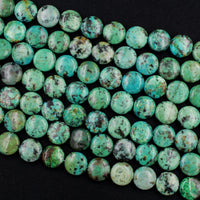 "Natural African Turquoise 12mm Coin Beads Vibrant Blue Green Turquoise Untreated Gemstone 16"" Strand"