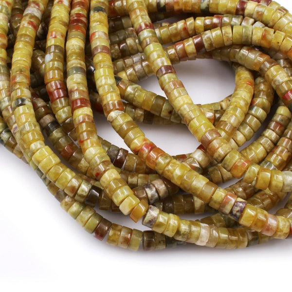 "Rare Natural Russian Blood Serpentine Jade 4x2mm 6x3mm Heishi Rondelle Beads Red Mustard Green Jade From Russia 16"" Strand"