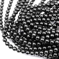 "Genuine Real Natural Jet 4mm 6mm 8mm 10mm Round Beads AAA Quality Natural Black Gemstones 16"" Strand"