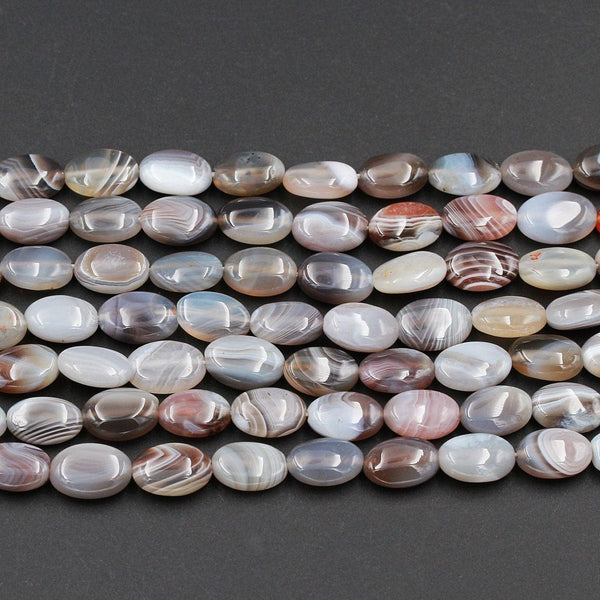 "Natural Botswana Agate Beads 12mm Oval Smooth Plain Long Beads Superior A Grade Vivid Veins Bands 16"" Strand"