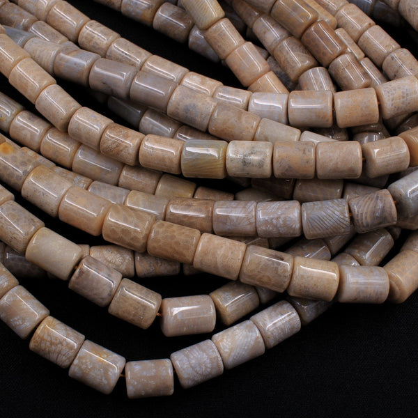 "Natural Fossil Coral Smooth Cylinder Drum Barrel Beads 10mm Earthy Beige Gray Beads 16"" Strand"