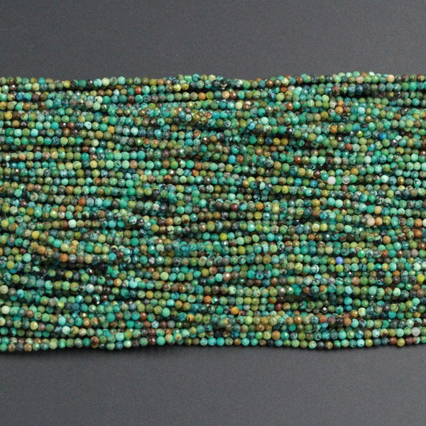 "Natural Turquoise Tiny Small 2mm Faceted Round Beads Real Genuine Natural Brown Green Turquoise Micro Faceted Cut 16"" Strand"