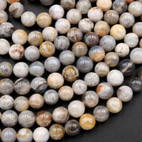 "Natural Bamboo Agate 4mm 6mm Round Beads Small Natural Grey Yellow Green Agate 16"" Strand"