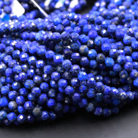 "Micro Faceted Natural Blue Lapis 4mm 5mm Faceted Round Beads Small Laser Diamond Cut  Real Genuine Lapis Gemstone High Quality 16"" Strand"