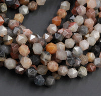 "Phantom Agate Geometric Cut Star Cut Beads Faceted Rounded 8mm Nugget 10mm 12mm Beads Gray Brown Peach Red Gemstone 16"" Strand"