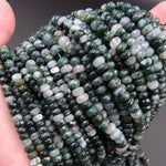 "Natural Faceted Green Moss Agate Rondelle Beads 4x6mm 6mm Rondelle Beads 5x8mm 8mm Rondelle Beads Faceted Green Gemstone Rondelle 16"" Strand"