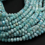 "Natural Blue Larimar 4mm Faceted Rondelle Beads 5mm Micro Faceted Diamond Cut Real Genuine Larimar Blue Gemstone 16"" Strand"