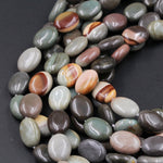"Natural Polychrome Ocean Jasper Oval Beads Landscape Jasper Oval Puffy Polished 16mm x 12mm Beads Earthy Teal Green Slate Brown 16"" Strand"