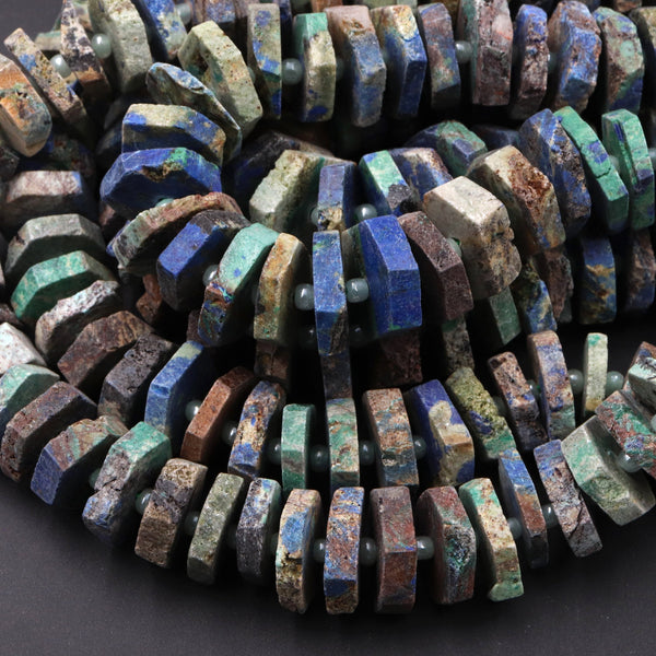 "Gorgeous Matte Natural Azurite Chrysocolla Heishi Wheel Disc Rondelle Bead Center Drillied Slice Raw Rough Hand Cut Organic 16"" Strand"