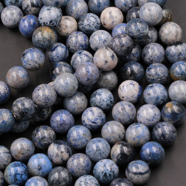 "Natural White Snow Dumortierite Round Beads 8mm Round Beads 10mm Round Beads 12mm Round Beads 16"" Strand"