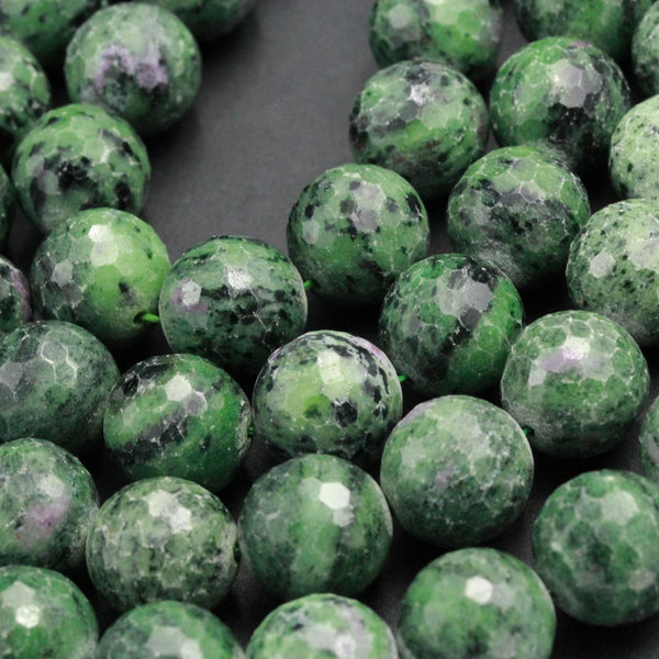 "Large Faceted Natural Ruby Zoisite 16mm Round Beads Green Zoisite Gemstone 16"" Strand"