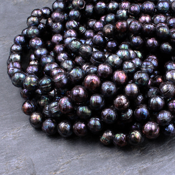 "Large Faceted Genuine Freshwater Pearl Mystic Black Peacock Pearl 8mm Round Shimmery Iridescent Beads 16"" Strand"