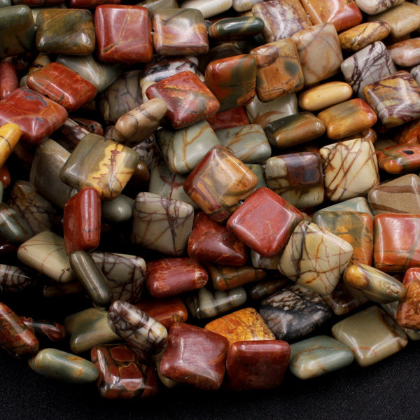 "Red Creek Jasper Square Beads 12mm Red Green Yellow Brown Natural Cherry Creek Multi Color Multicolor Picasso Jasper 16"" Strand"